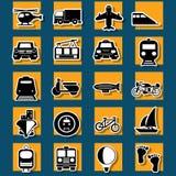 Tipo de iconos de la etiqueta engomada del transporte y del viaje stock de ilustración
