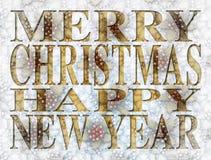 Tipo de la Feliz Año Nuevo de la Feliz Navidad Foto de archivo