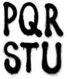 Tipo de la fuente de la pintura de espray de la pintada (alfabeto de la parte 3) Foto de archivo
