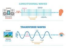 Tipo de la onda longitudinal y transversal, diagrama científico del ejemplo del vector Sonic y principio de la opinión visual stock de ilustración