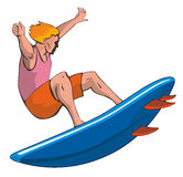 Tipo de la persona que practica surf en blanco Imagen de archivo libre de regalías