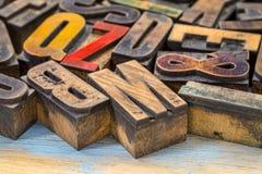 Tipo de madeira blocos da tipografia do vintage de impressão Fotos de Stock Royalty Free