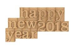 Tipo de madeira blocos do vintage de impressão com 2018 anos novo feliz Sloga Imagens de Stock Royalty Free