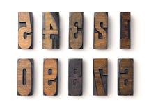 Tipo de madeira numerais Imagem de Stock Royalty Free