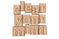 Tipo de madera bloques del vintage de impresión con claro su lema de la mente Imagenes de archivo