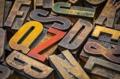 Tipo de madera bloques de la prensa de copiar del vintage de impresión Foto de archivo libre de regalías