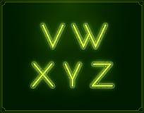 Tipo de neón alfabeto de la fuente El brillar intensamente en vector Imagenes de archivo