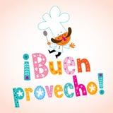 Tipo decorativo español del provecho de Buen con el carácter del cocinero ilustración del vector