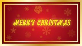 Tipo del día de fiesta del amarillo de la Feliz Navidad en fondo rojo ilustración del vector