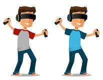 Tipo del fumetto che usando i vetri di realtà virtuale illustrazione di stock
