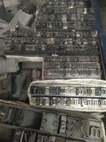 Tipo del metal de la prensa de copiar cerrado para arriba Imágenes de archivo libres de regalías