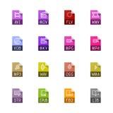 Tipo di archivio icone - video, audio e libri illustrazione vettoriale