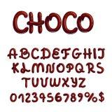 Tipo di carattere del cioccolato su fondo bianco illustrazione vettoriale