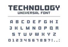 Tipo di carattere universale del manifesto di tecnologia Forte, costruzione, ingegneria, alfabeto techno royalty illustrazione gratis