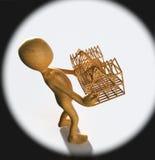 Tipo di concetto che giudica casa di legno isolata sulla rappresentazione del fondo 3d Fotografia Stock Libera da Diritti