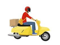 Tipo di consegna di vettore su un motorino giallo Fotografie Stock Libere da Diritti