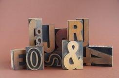 Tipo di legno gruppo dello scritto tipografico Fotografia Stock
