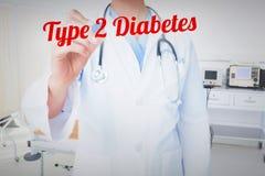 Tipo - diabetes 2 contra cama vacía en el cuarto de hospital fotos de archivo libres de regalías