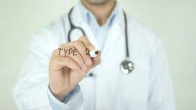 Tipo - 2 diabetes, el doctor Writing en la pantalla transparente