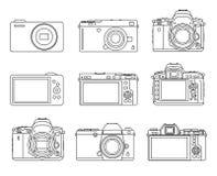 Tipo diferente ícones da câmera Fotos de Stock Royalty Free