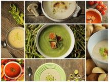 Tipo diferente da sopa em um fundo de madeira Foto de Stock