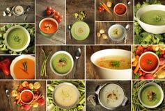 Tipo diferente da sopa em um fundo de madeira Fotografia de Stock Royalty Free