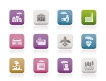 Tipo diferente de ícones do seguro e do risco Fotografia de Stock Royalty Free