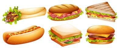 Tipo diferente do fastfood ilustração stock