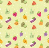 Tipo diferente do fundo sem emenda do fruto no vetor do estilo do kawaii ilustração stock