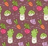 Tipo diferente do fundo vegetal do kawaii ilustração royalty free