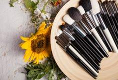 Tipo differente di spazzole Make up su un piatto accanto al fiore selvaggio Immagine Stock