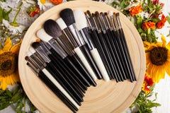 Tipo differente di spazzole Make up su un piatto accanto al fiore selvaggio Fotografia Stock