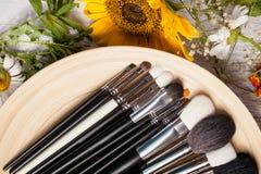 Tipo differente di spazzole Make up su un piatto accanto al fiore selvaggio Fotografia Stock Libera da Diritti