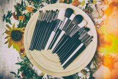 Tipo differente di spazzole Make up su un piatto accanto al fiore selvaggio Fotografie Stock Libere da Diritti