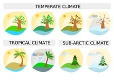 Tipo differente icone/di stagione otto disegni semplicistici Fotografie Stock Libere da Diritti