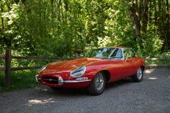 Tipo-e d'annata rosso Jaguar immagine stock libera da diritti