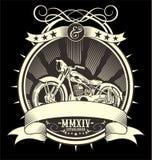 Tipo ejemplo llenado del vector de la motocicleta del vintage, drenaje manual de la mano del artrwork del EPS ilustración del vector