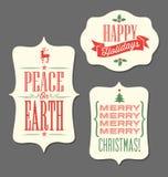 Tipo elementos do vintage das etiquetas do feriado do Natal do projeto Fotografia de Stock Royalty Free