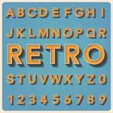 Tipo fonte retro, tipografia do vintage. ilustração stock