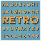 Tipo fuente retro, tipografía del vintage. Fotos de archivo libres de regalías