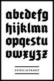 Tipo gótico del alfabeto de la fuente Fotografía de archivo libre de regalías