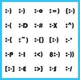 Tipo grueso popular emoticons de la fuente de la expresión facial de las caras del carácter fijados ilustración del vector