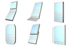 Tipo icone di disegni dei telefoni mobili impostate Fotografia Stock