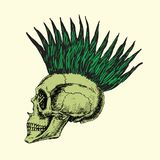 Tipo iroquois señalado en el perfil del cráneo, garabato exhausto de la mano, bosquejo en estilo del grabar en madera ilustración del vector