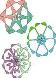 Tipo logotipo de três flores Imagens de Stock Royalty Free