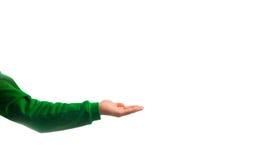 Tipo, mano dell'uomo che mostra qualcosa sopra la sua mano, isolata nel bianco Fotografie Stock