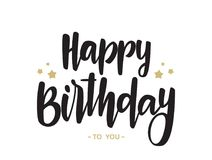 Tipo manuscrito letras de feliz cumpleaños en el fondo blanco Diseño de la tipografía Tarjeta de felicitaciones fotografía de archivo
