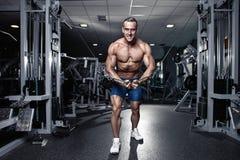 Tipo muscolare del culturista che fa allenamento di esercizi in palestra Fotografia Stock