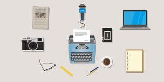 Tipo penna della macchina fotografica di vettore degli oggetti dell'icona della stampa del giornalista del giornale della nota de Immagini Stock