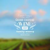 Tipo progettazione dell'etichetta del vino contro vigne Fotografia Stock Libera da Diritti